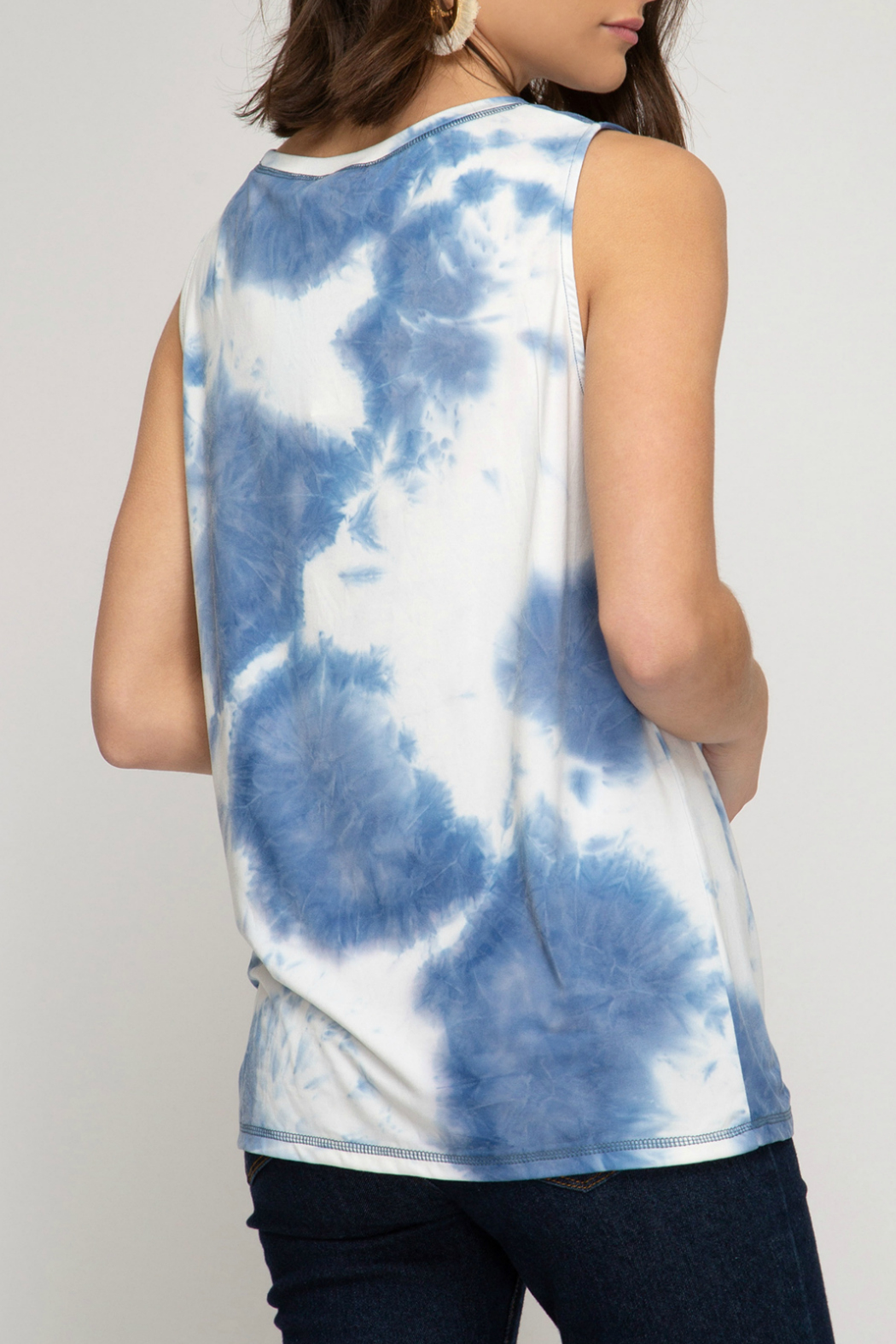 She and Sky Tie Dye knit tank top - Front Full Image