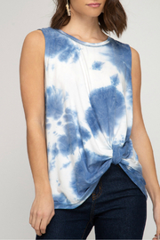 She and Sky Tie Dye knit tank top - Front cropped