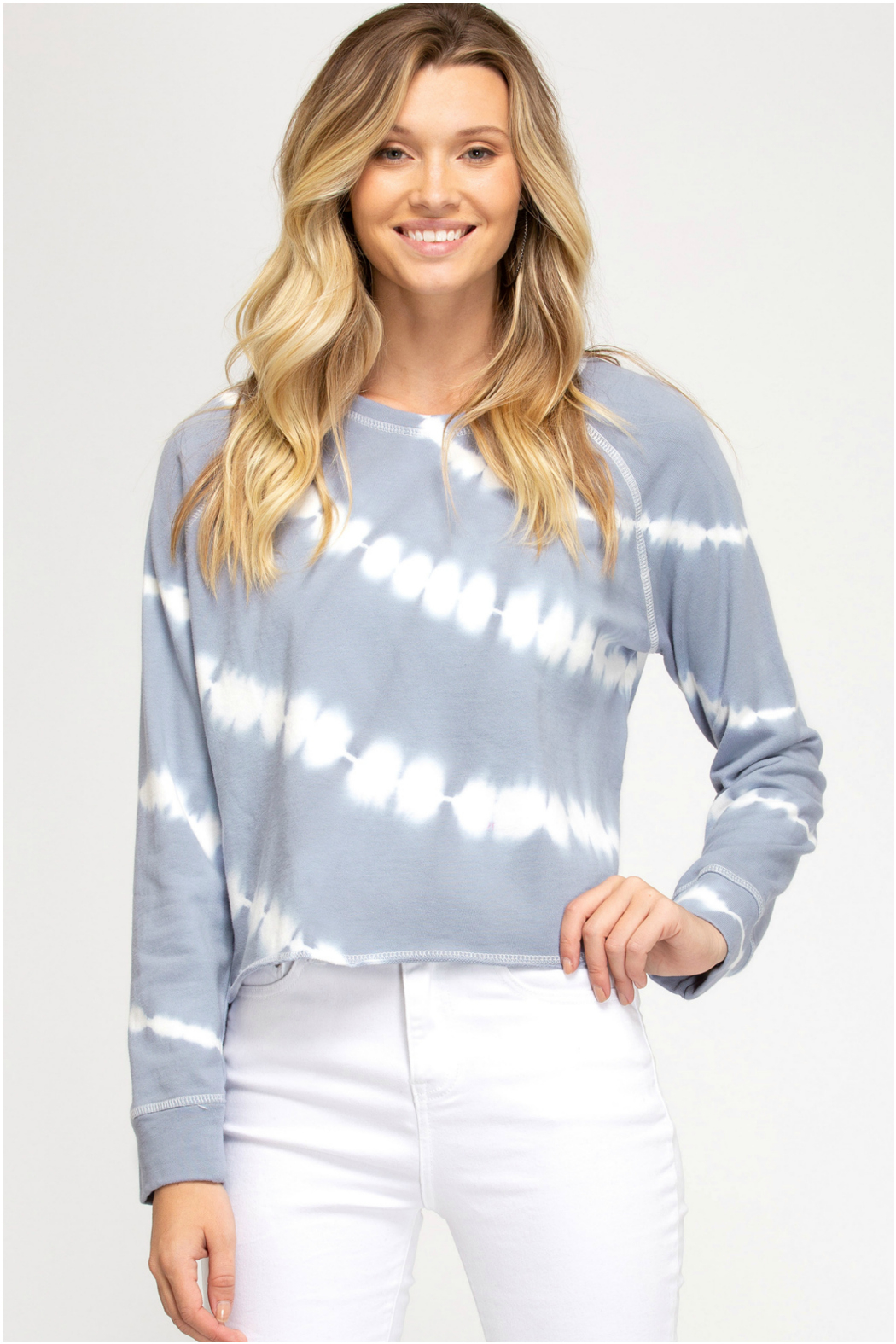 She + Sky Tie Dye Knit Top - Front Cropped Image
