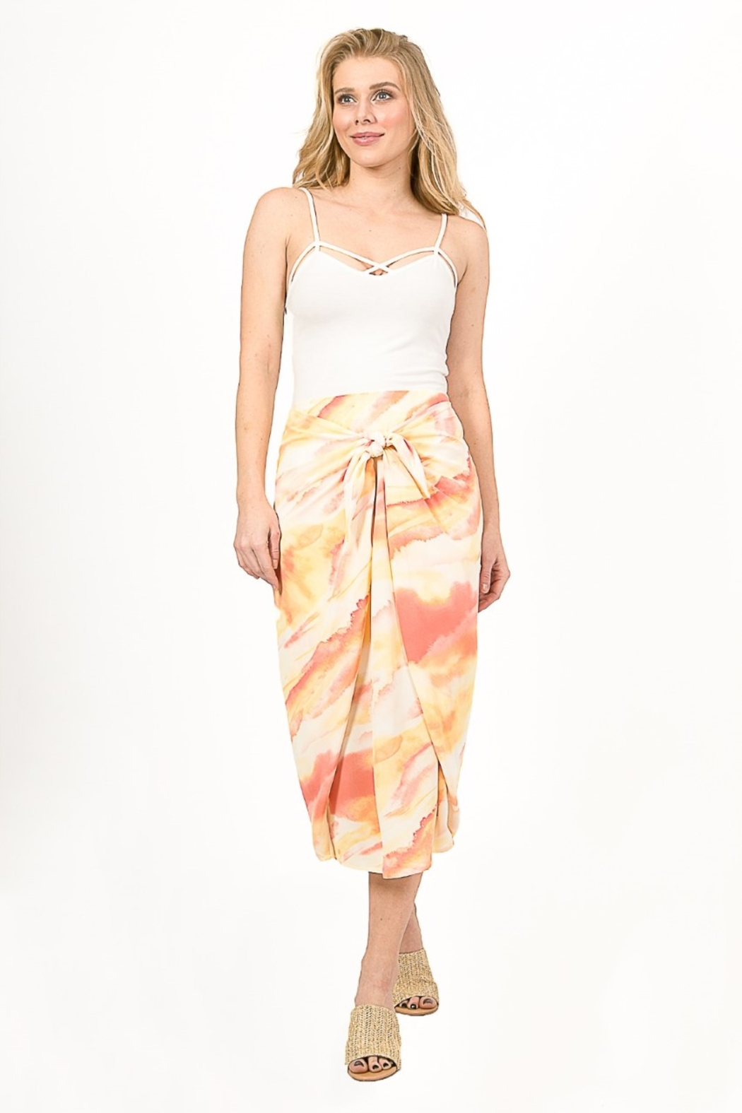Very J  Tie Dye Knot Midi Skirt - Front Cropped Image