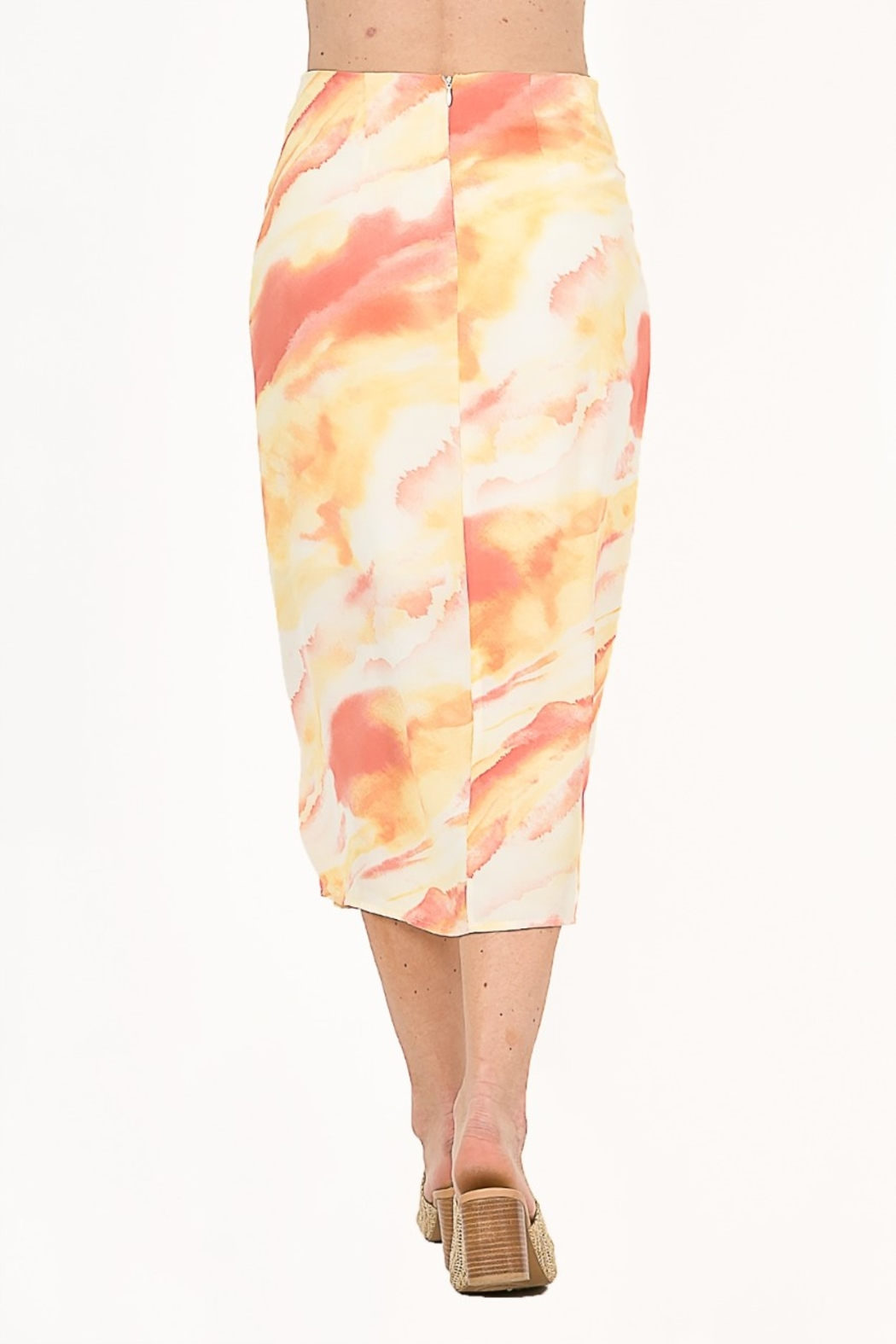 Very J  Tie Dye Knot Midi Skirt - Back Cropped Image