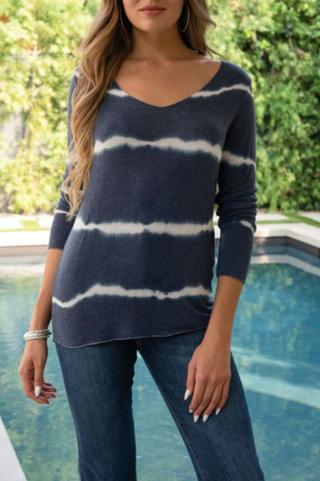Venti6 Tie Dye L/S V Neck with Metallic Trim - Front Cropped Image