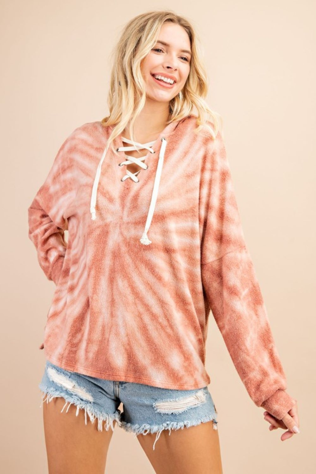 143 Story Tie Dye Lace Up Hoodie Top - Main Image