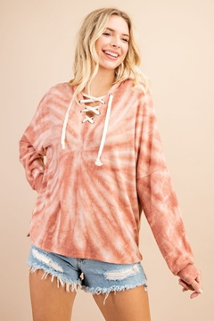 143 Story Tie Dye Lace Up Hoodie Top - Product List Image
