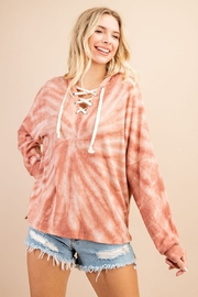 143 Story Tie Dye Lace Up Hoodie Top - Front cropped