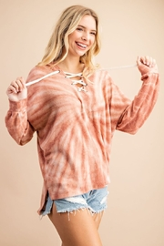 143 Story Tie Dye Lace Up Hoodie Top - Front full body