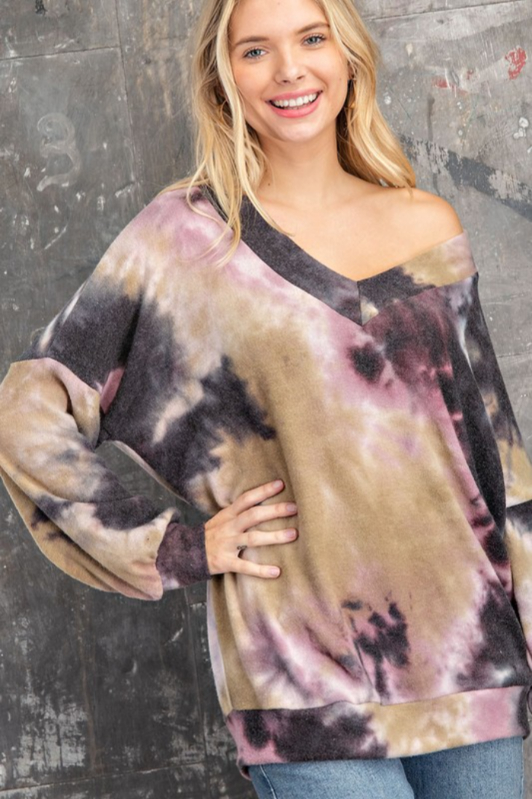 143 Story Tie Dye Long Banded Fleeced Top - Front Cropped Image