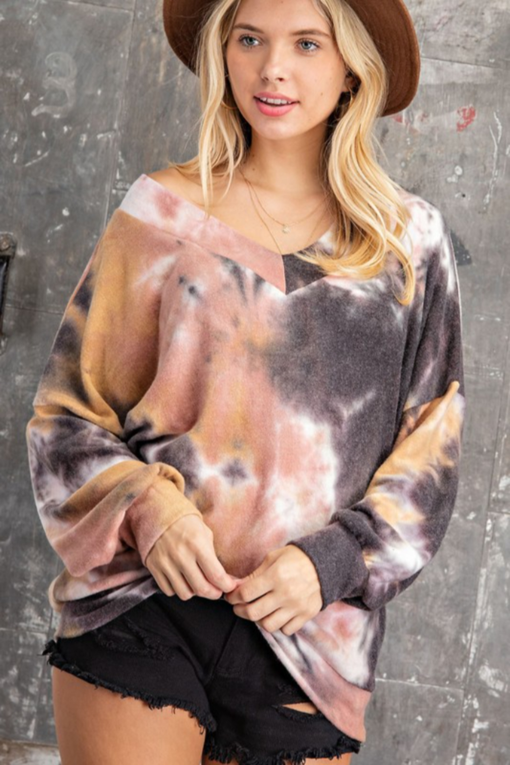 143 Story Tie Dye Long Banded Fleeced Top - Front Full Image