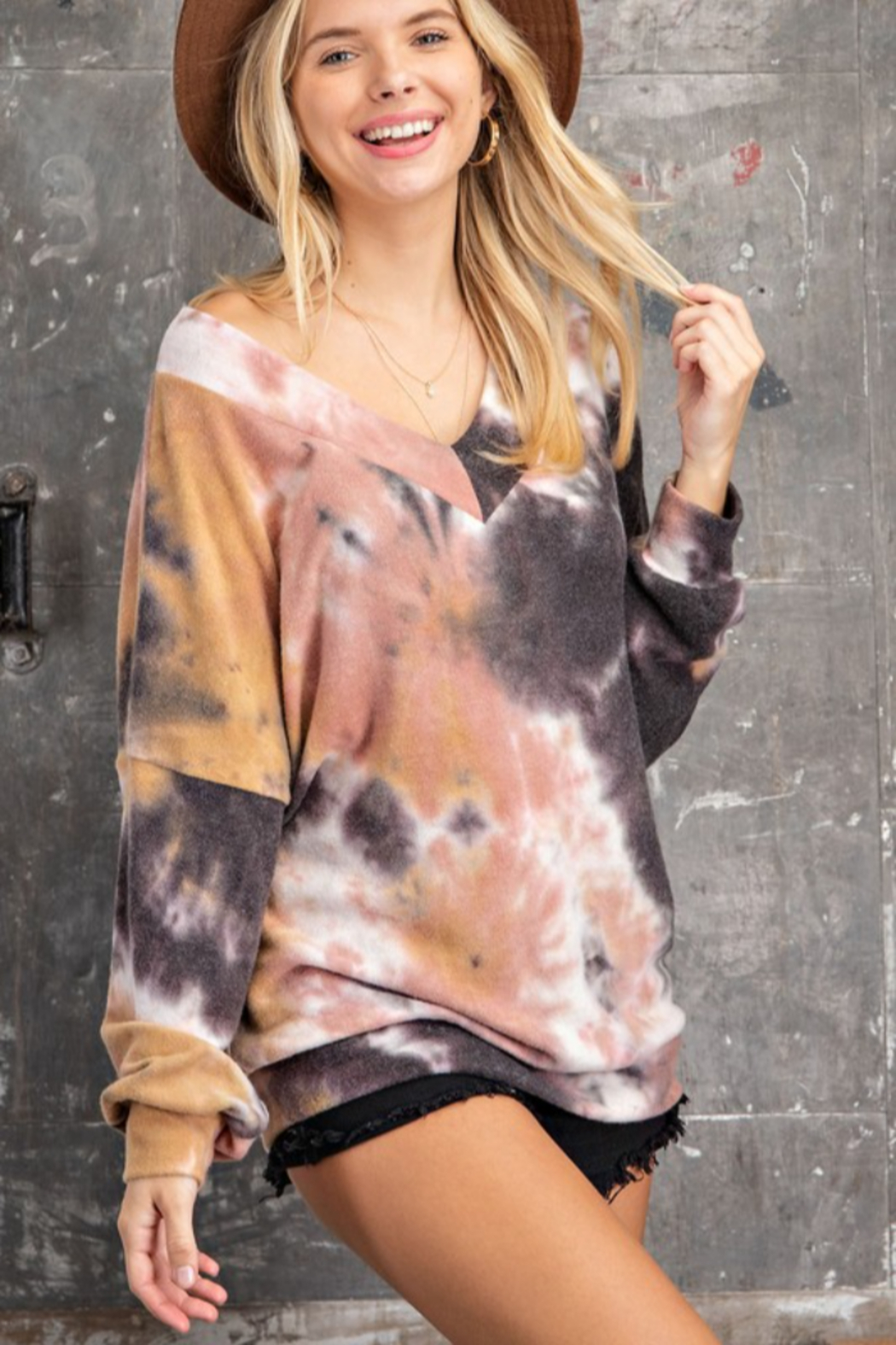 143 Story Tie Dye Long Banded Fleeced Top - Side Cropped Image