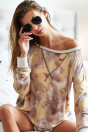 Bibi Tie Dye Long Sleeve Contrast Stitching Shirt - Product Mini Image