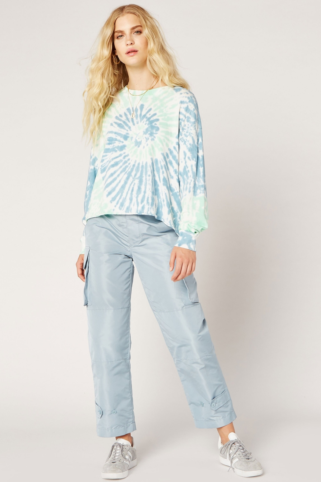 Daydreamer Tie Dye Long Sleeve Crop - Front Full Image