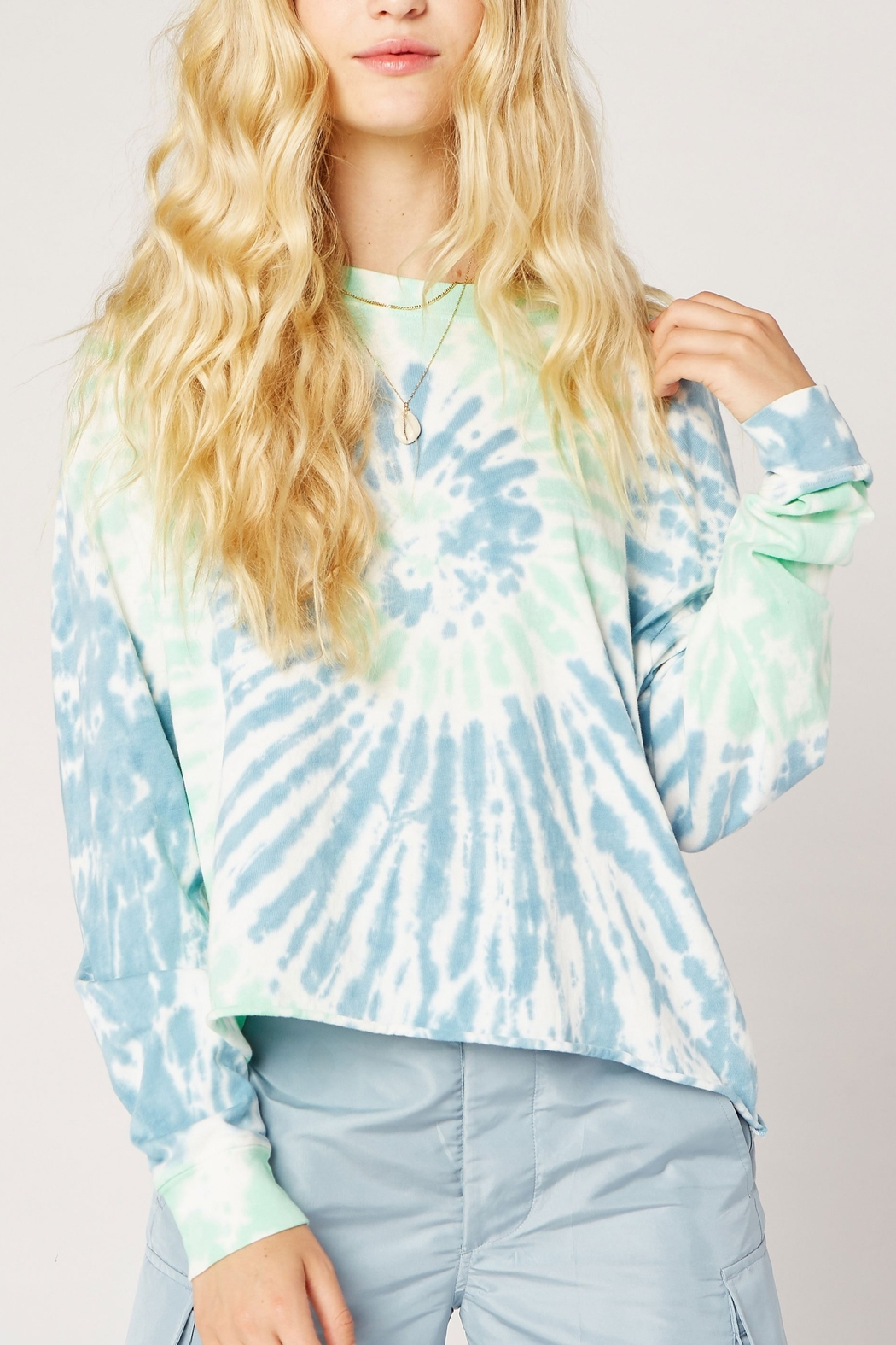 Daydreamer Tie Dye Long Sleeve Crop - Front Cropped Image