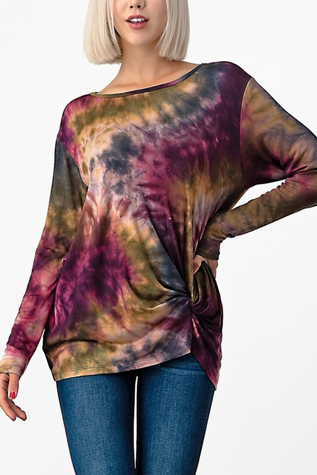 Yahada Tie-dye Long Sleeve Dolman Top - Front Cropped Image