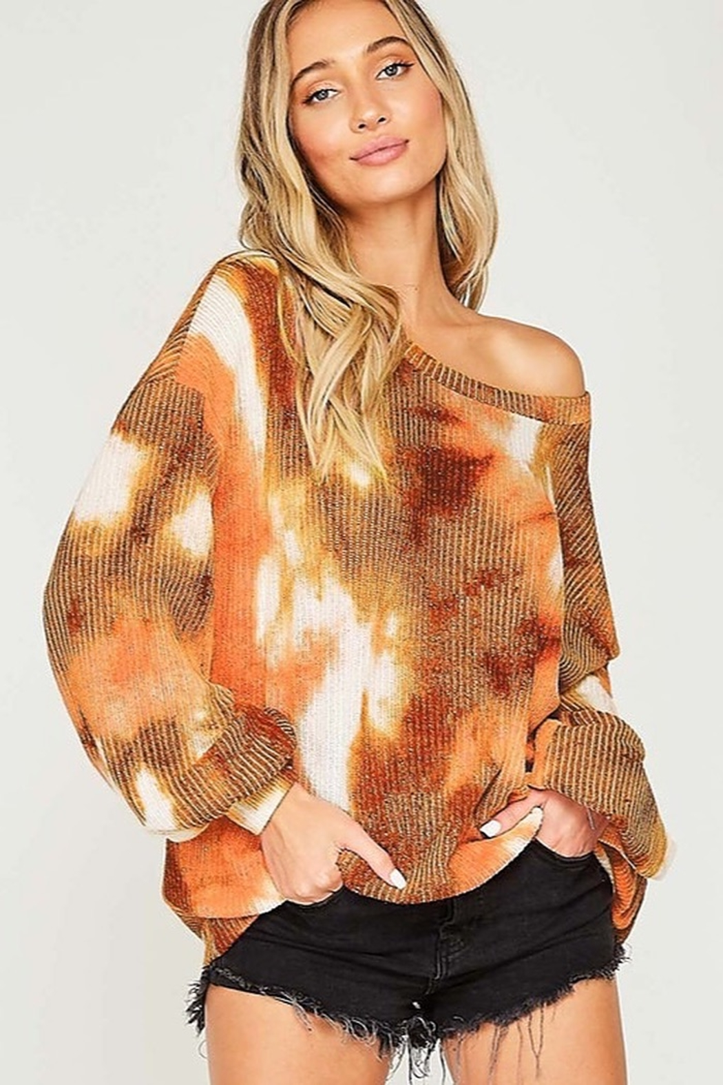 Fantastic Fawn  Tie Dye Long Sleeve Knit Top - Front Cropped Image