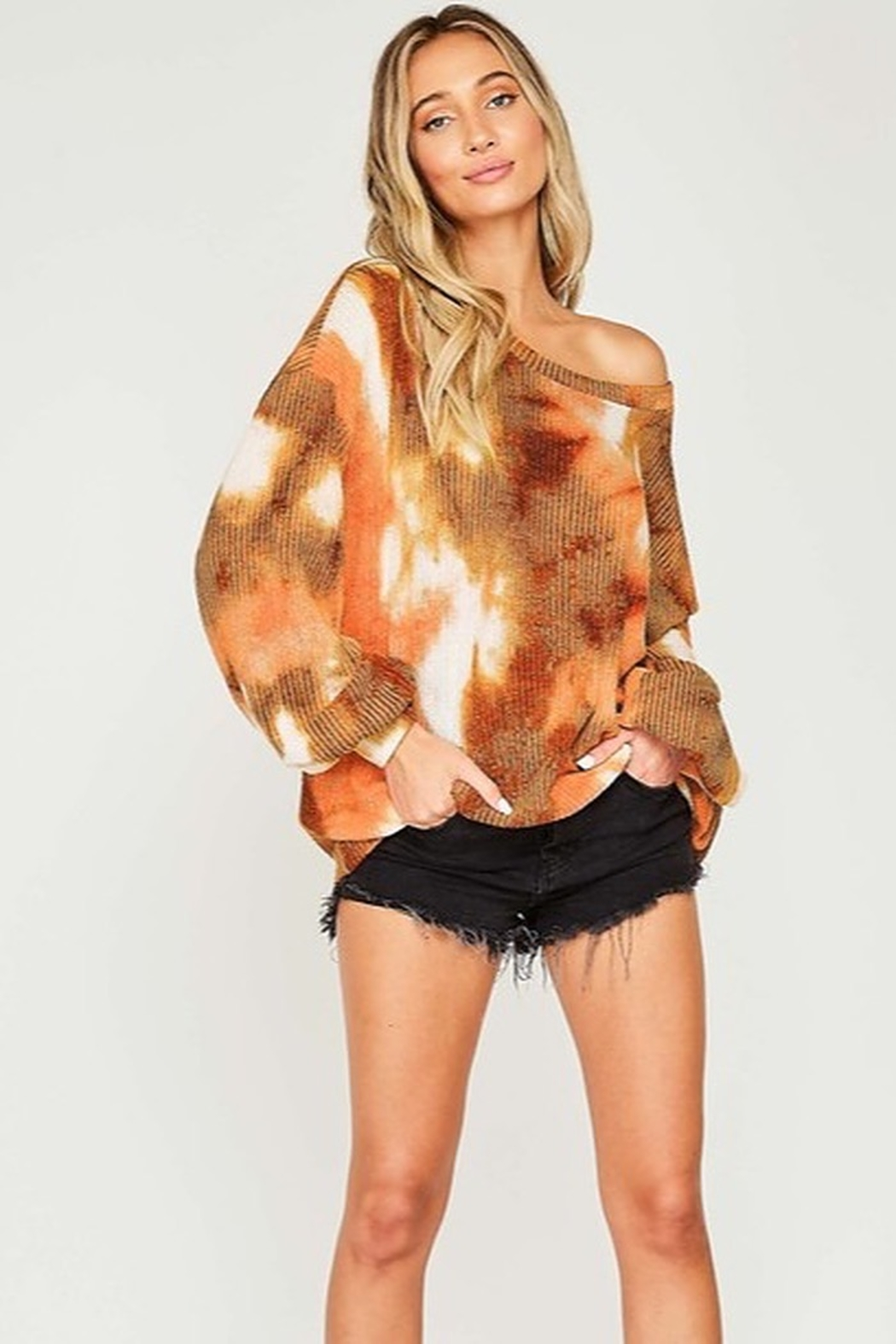 Fantastic Fawn  Tie Dye Long Sleeve Knit Top - Front Full Image