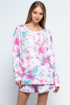 Blue B Tie Dye Long Sleeve Lounge Wear Set - Product List Image