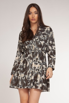 Dex Tie Dye Long Sleeve V Neck Shirt Dress - Alternate List Image