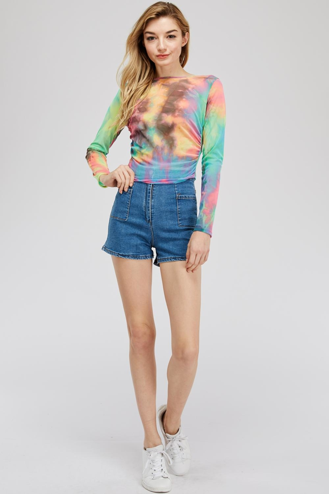 Better Be Tie-Dye Mesh Top - Back Cropped Image