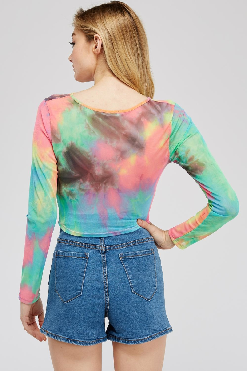 Better Be Tie-Dye Mesh Top - Side Cropped Image
