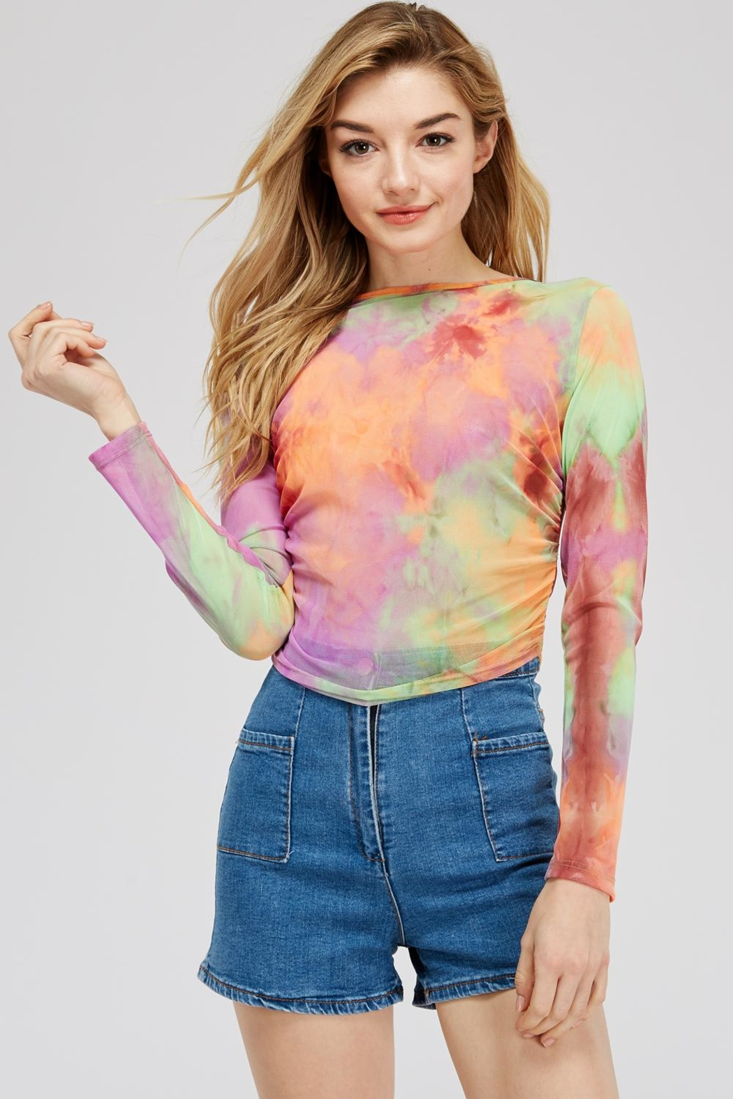 Better Be Tie-Dye Mesh Top - Front Cropped Image