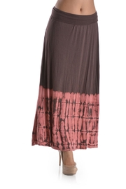 T Party Tie-Dye Mocha-Coral Maxi-Skirt - Front cropped