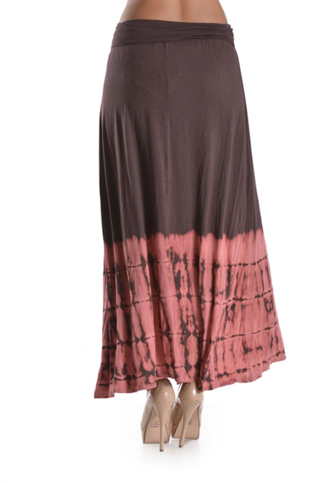 T Party Tie-Dye Mocha-Coral Maxi-Skirt - Side Cropped Image