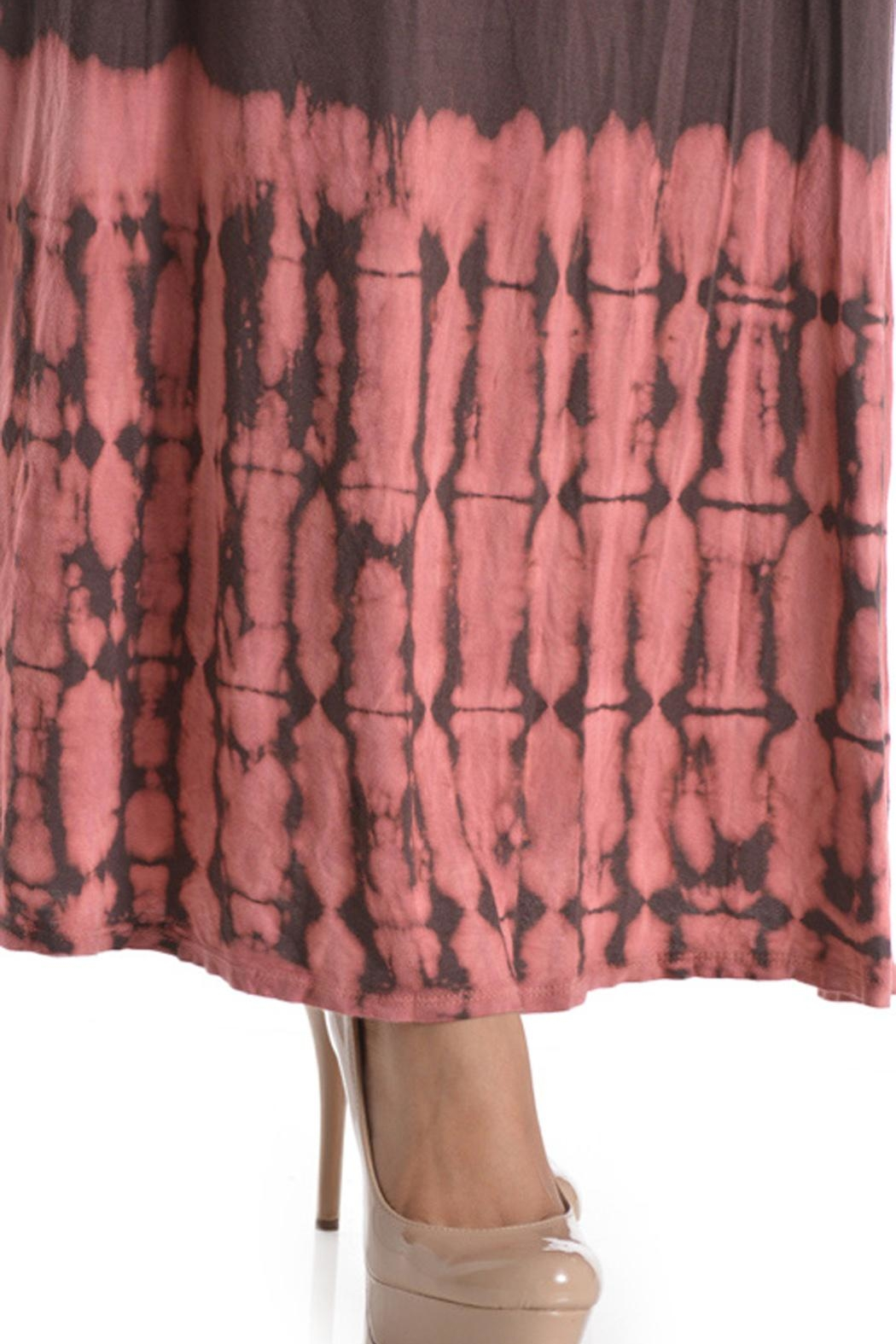 T Party Tie-Dye Mocha-Coral Maxi-Skirt - Back Cropped Image