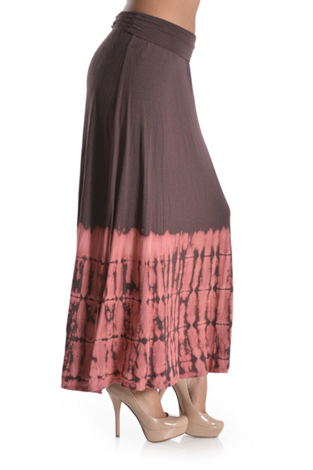 T Party Tie-Dye Mocha-Coral Maxi-Skirt - Front Full Image