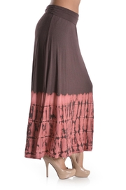 T Party Tie-Dye Mocha-Coral Maxi-Skirt - Front full body