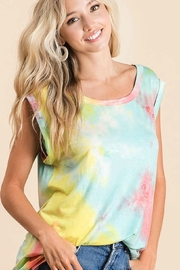 Bibi Tie Dye Muscle Tank Top with Rolled Cuff - Product Mini Image