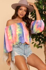 Blue Buttercup Tie Dye Off Shoulder Balloon Sleeve Top - Product Mini Image
