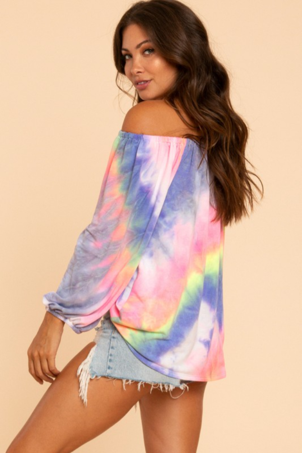 Blue Buttercup Tie Dye Off Shoulder Balloon Sleeve Top - Side Cropped Image