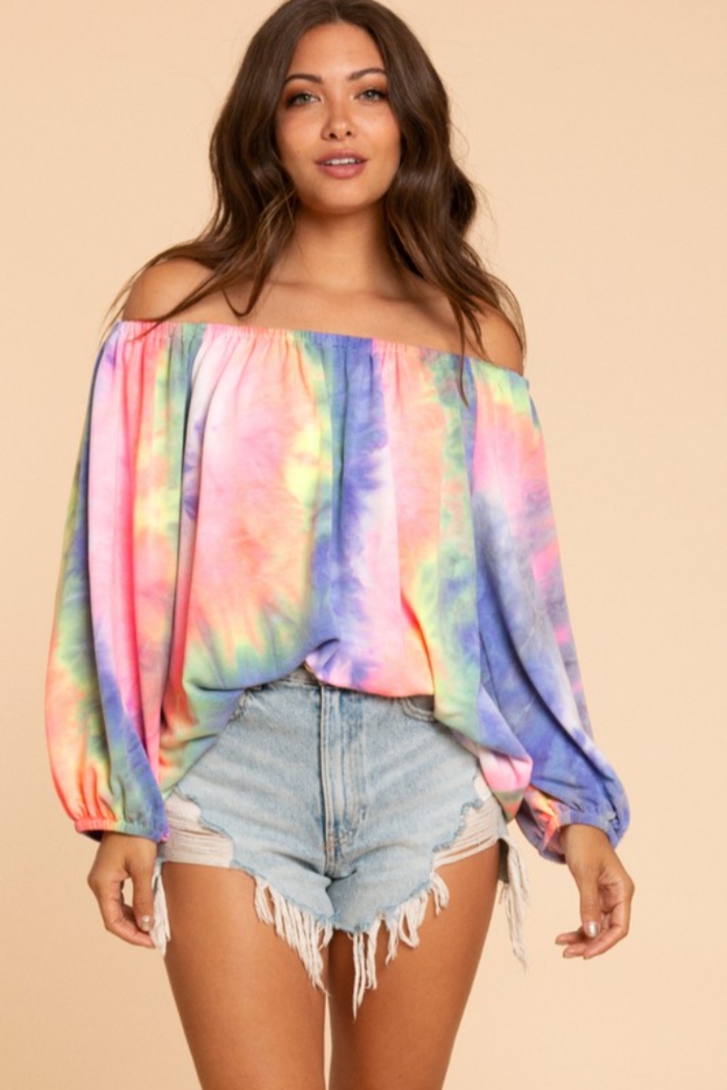 Blue Buttercup Tie Dye Off Shoulder Balloon Sleeve Top - Front Full Image