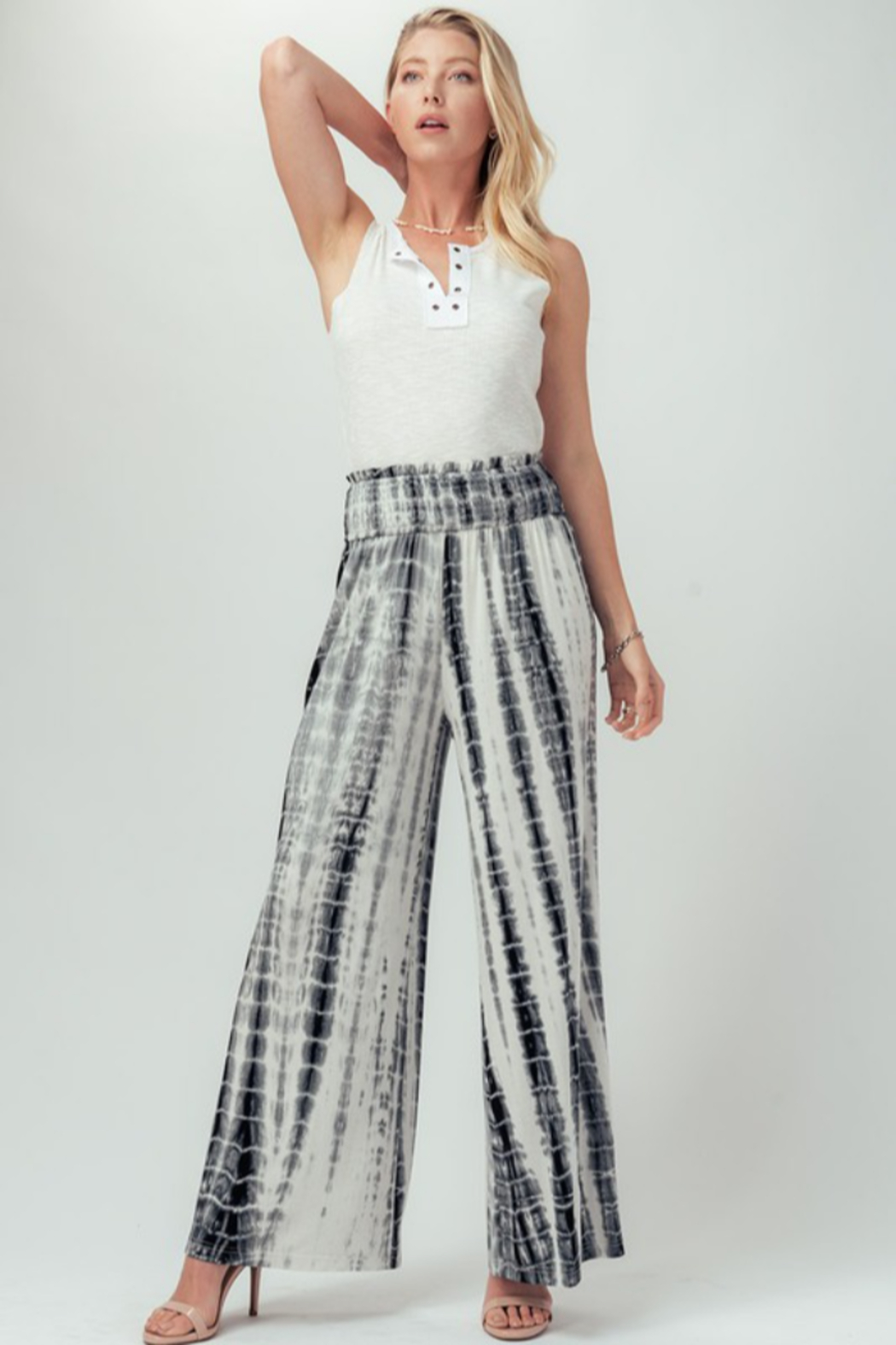 Trend Notes  Tie Dye Palazzo - Back Cropped Image