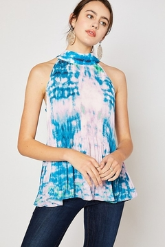 Mittoshop Tie Dye Pleated Detail Mock Neck Top - Product List Image