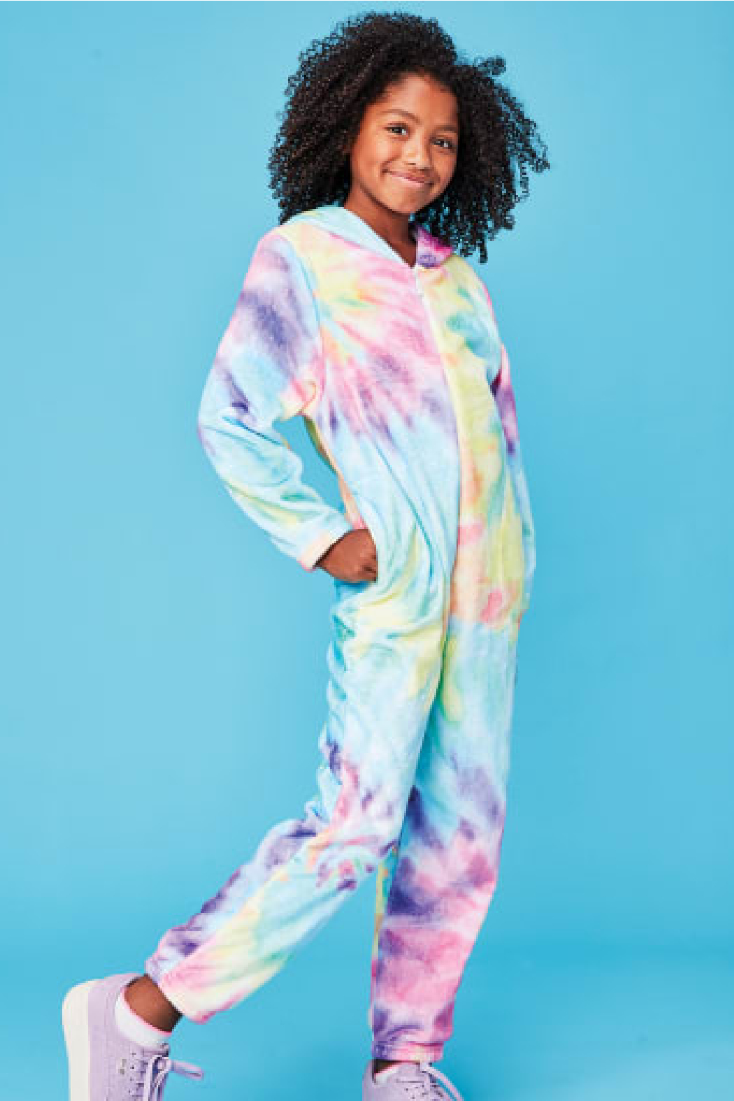 Iscream Tie Dye Plush Onesie - Main Image