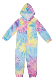 Iscream Tie Dye Plush Onesie - Front full body