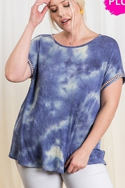 Ces Femme  Tie Dye Print Boat Neck Casual Top - Front cropped