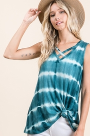 Lime n Chili Tie Dye Print Criss Cross Neck Top - Front full body