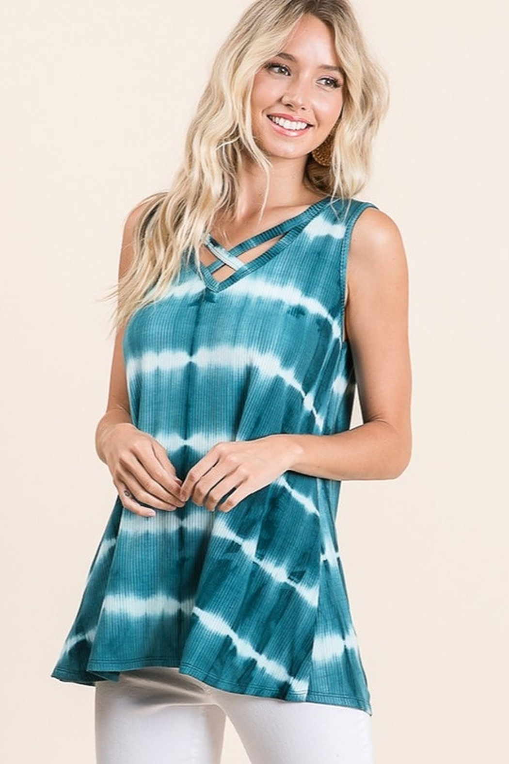 Lime n Chili Tie Dye Print Criss Cross Neck Top - Main Image