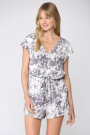 Fate Inc. Tie Dye Print Front Tie Romper - Front cropped