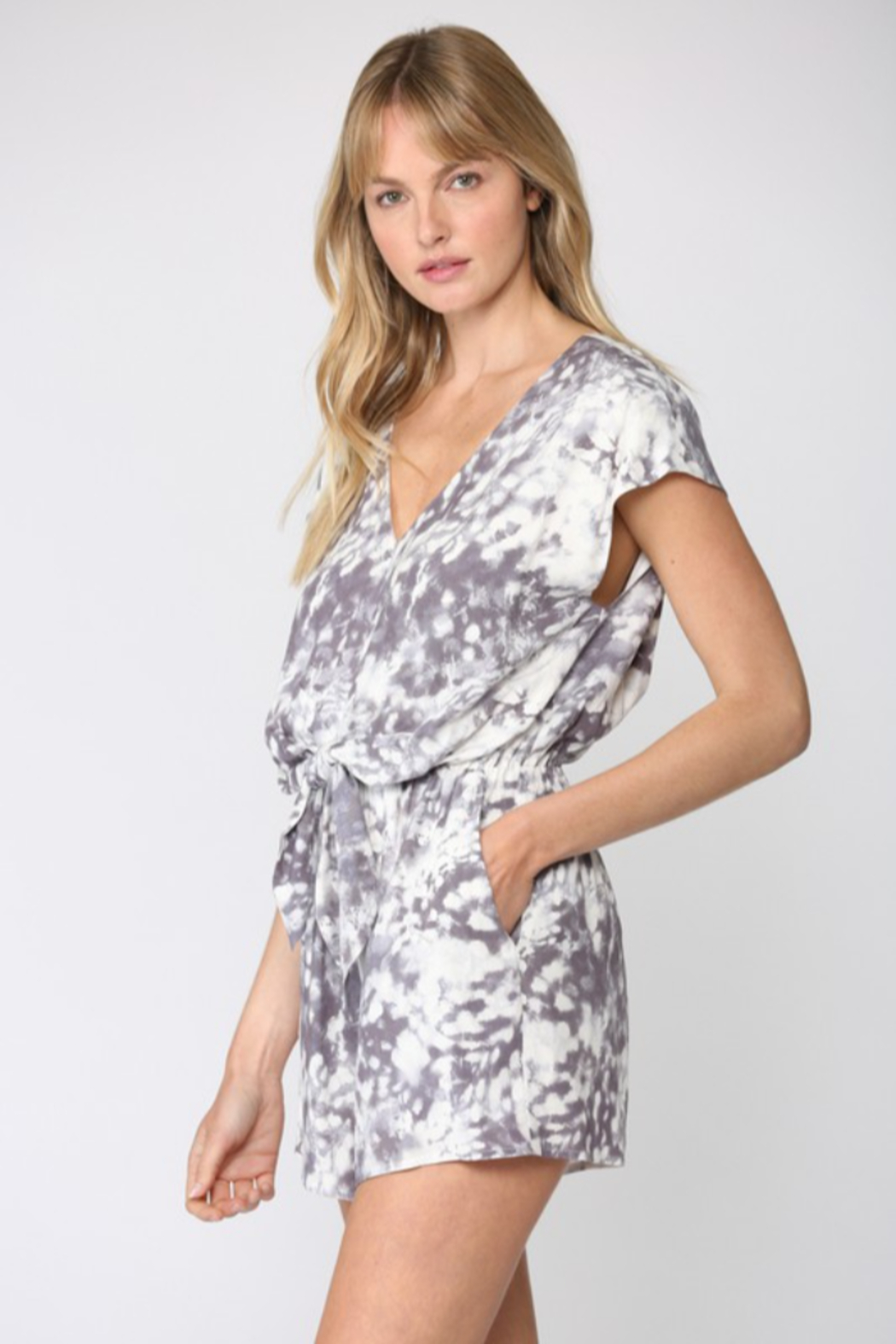 Fate Inc. Tie Dye Print Front Tie Romper - Front Full Image