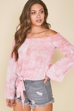 Peach Love California Tie Dye Print Off Shoulder Top - Product List Image