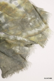 Umgee  Tie Dye Print Scarf with Frayed Edges - Side cropped