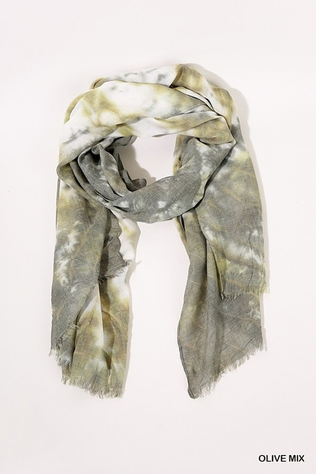 Umgee  Tie Dye Print Scarf with Frayed Edges - Front Cropped Image