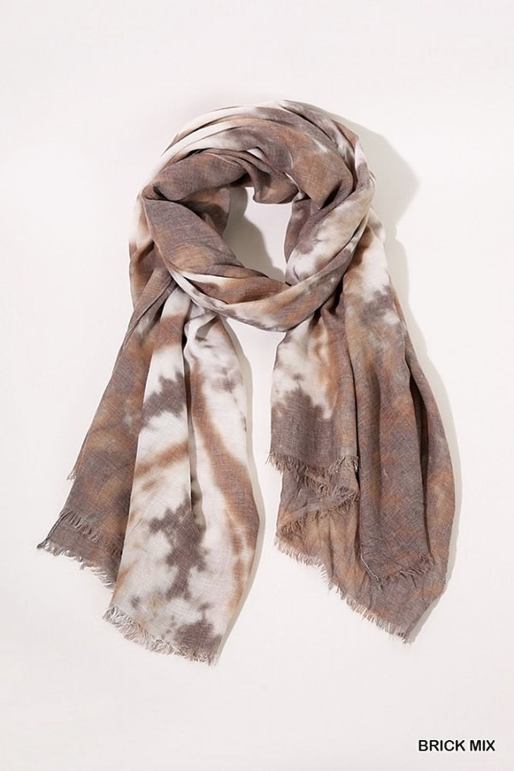 Umgee  Tie Dye Print Scarf with Frayed Edges - Front Full Image