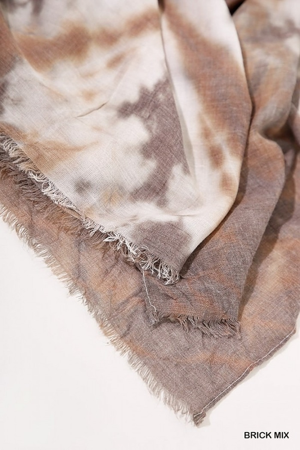 Umgee  Tie Dye Print Scarf with Frayed Edges - Back Cropped Image