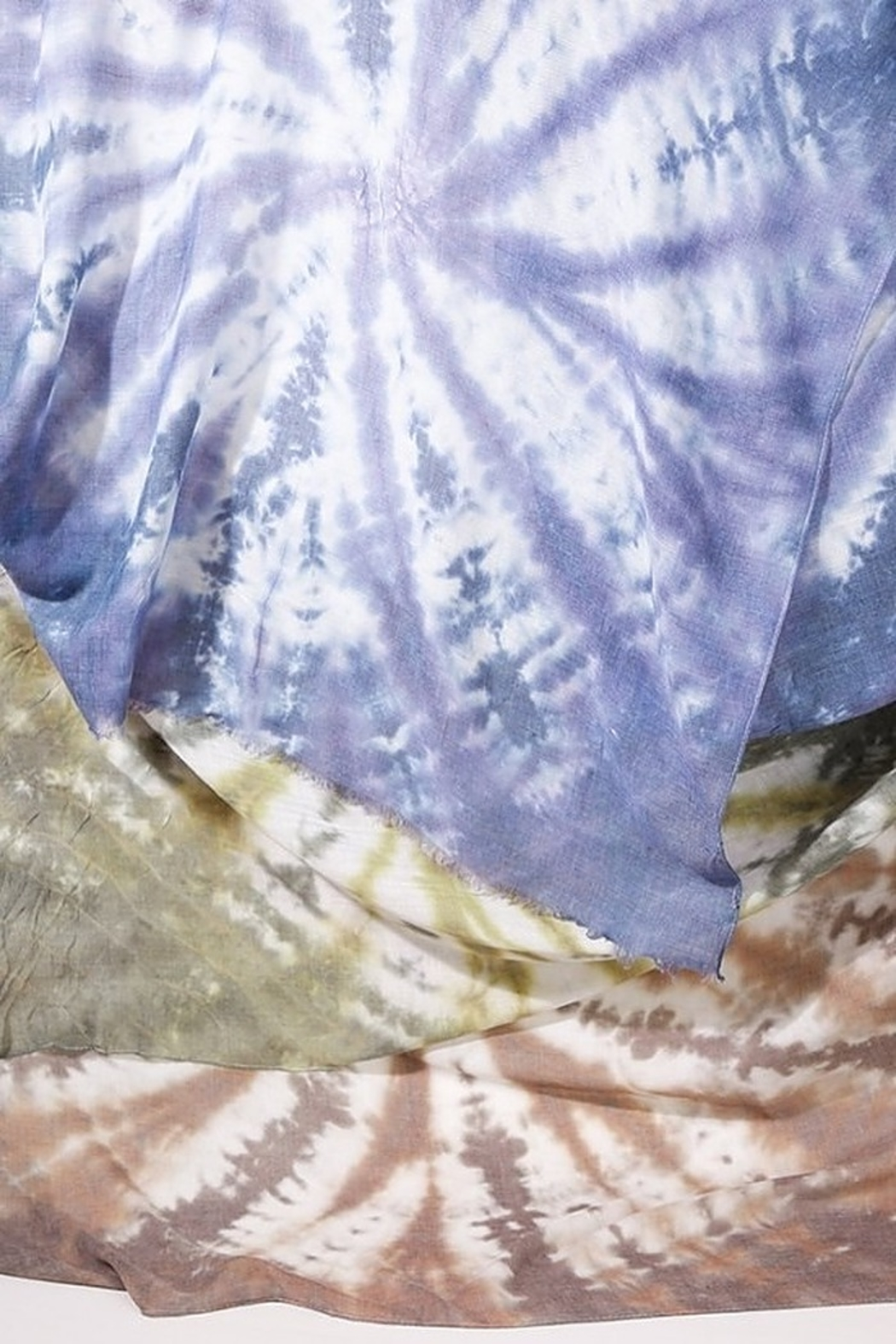 Umgee  Tie Dye Print Scarf with Frayed Edges - Main Image