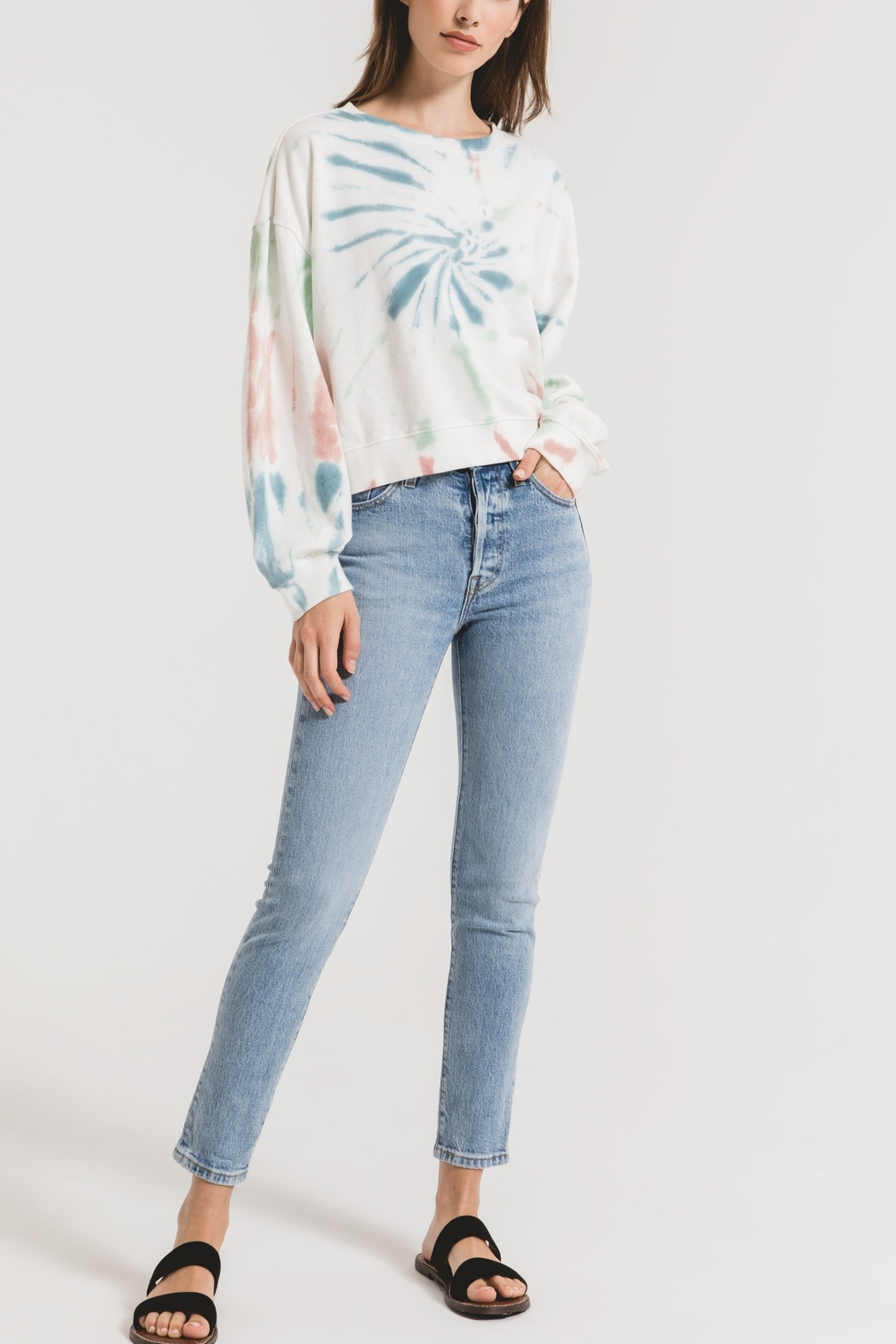z supply Tie Dye Pullover Sweatshirt - Front Cropped Image