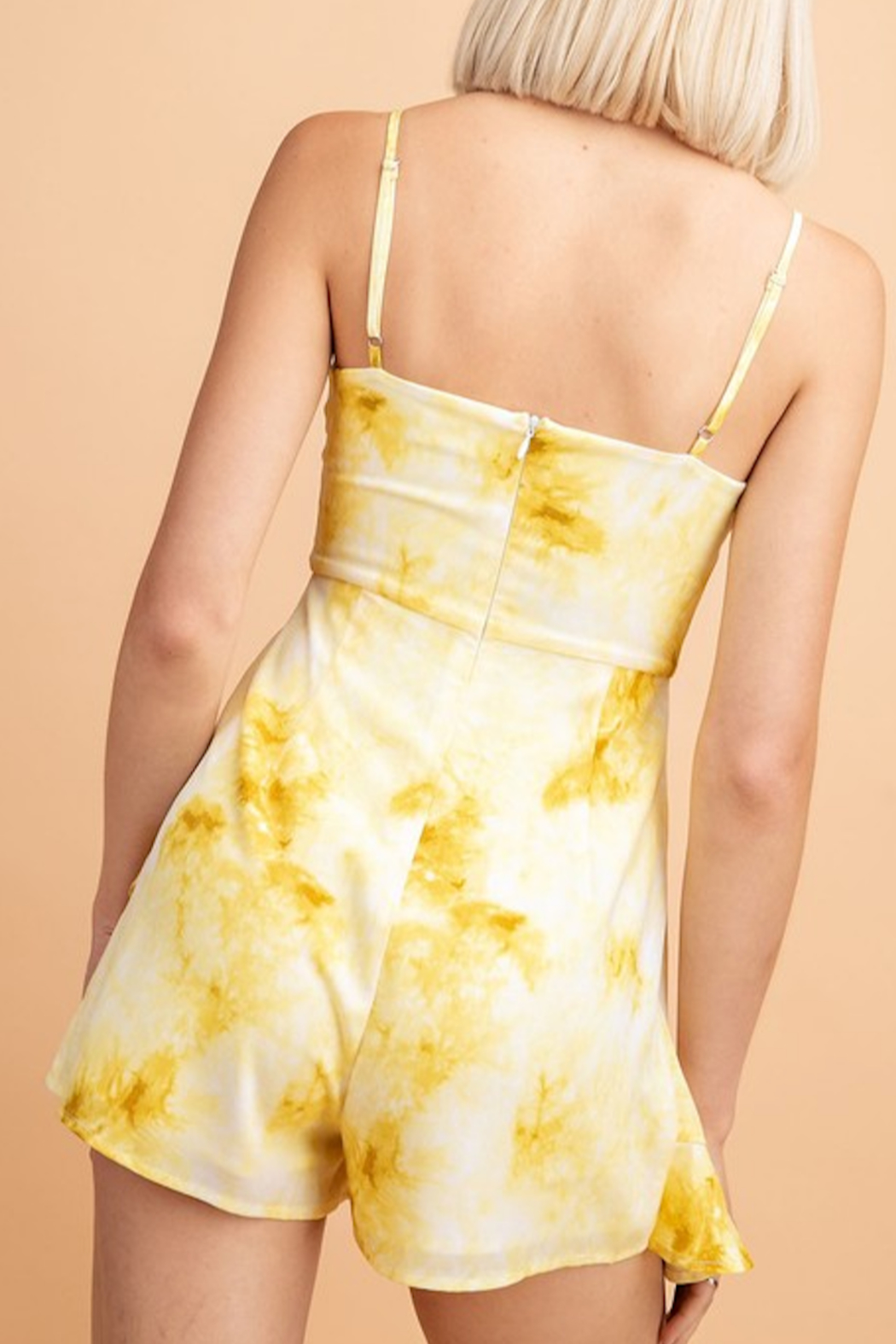 Le Lis Tie Dye Romper with Ruffle Layer - Side Cropped Image